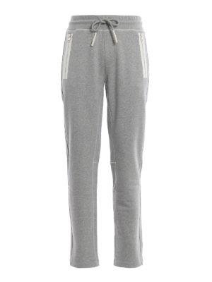 MONCLER: pantaloni sport - Pantaloni da tuta grigi chiari in cotone