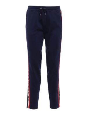 Moncler: tracksuit bottoms - Logo band detail blue track pants