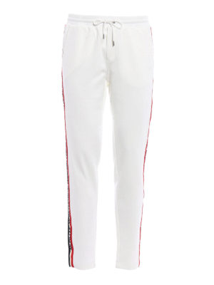 Moncler: tracksuit bottoms - Logo band detail white track pants