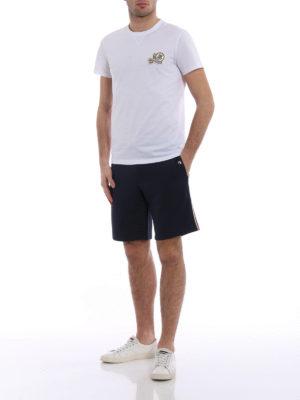 Moncler: tracksuit bottoms online - Dark blue short track pants