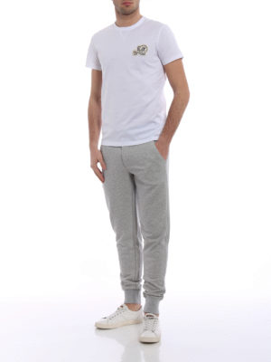 Moncler: tracksuit bottoms online - Light grey jersey track pants
