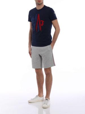 Moncler: tracksuit bottoms online - Light grey short track pants