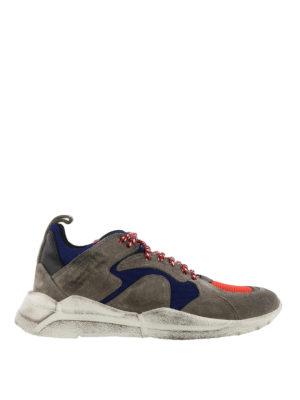 MONCLER: sneakers - Sneaker Jacub in camoscio e tessuto tecnico