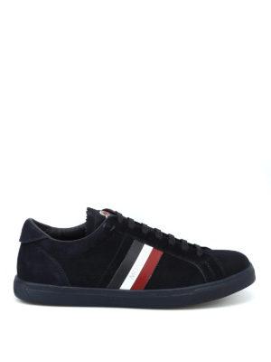 MONCLER: sneakers - Sneaker La Monaco in suede blu scuro