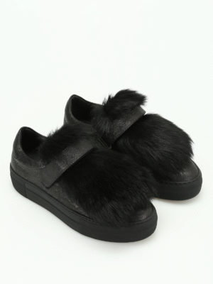 Moncler: trainers online - Victoire lamb fur insert sneakers