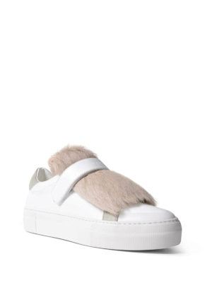 Moncler: trainers online - Victoire white fur insert sneakers
