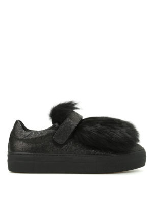Moncler: trainers - Victoire lamb fur insert sneakers