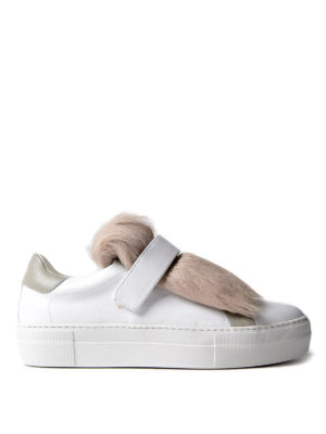 Moncler: trainers - Victoire white fur insert sneakers