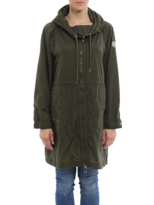 Moncler: trench coats online - Ortie hooded nylon coat