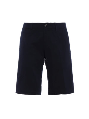 Moncler: Trousers Shorts - Blue stretch cotton short trousers