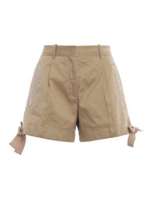MONCLER: pantaloni shorts - Bermuda kaki in drill di cotone