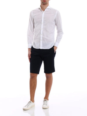 Moncler: Trousers Shorts online - Blue stretch cotton short trousers