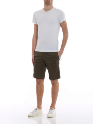 Moncler: Trousers Shorts online - Stretch cotton twill white shorts