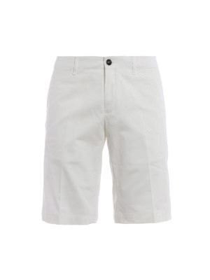 Moncler: Trousers Shorts - Stretch cotton white short trousers