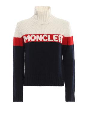 MONCLER: Turtlenecks & Polo necks - Logo intarsia colour block sweater