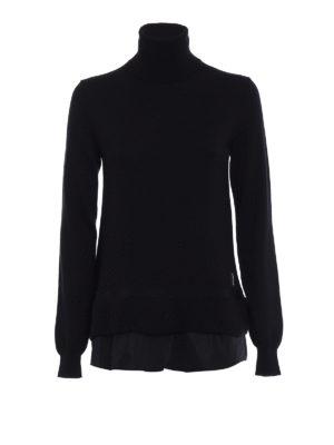 Moncler: Turtlenecks & Polo necks - Nylon bottom black wool turtleneck