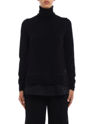Moncler: Turtlenecks & Polo necks online - Nylon bottom black wool turtleneck