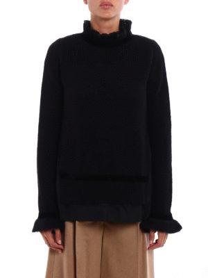 Moncler: Turtlenecks & Polo necks online - Velvet and macramé flared sweater