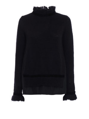 Moncler: Turtlenecks & Polo necks - Velvet and macramé flared sweater