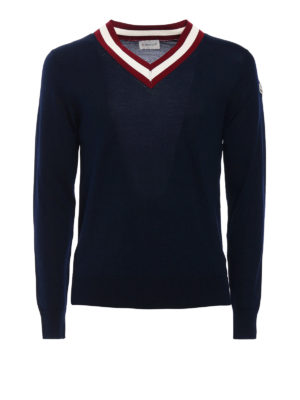 Moncler: v necks - Fine cotton tennis V-neck sweater