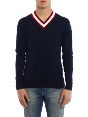 Moncler: v necks online - Fine cotton tennis V-neck sweater
