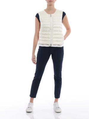 Moncler: waistcoats & gilets online - Padded front white cotton vest