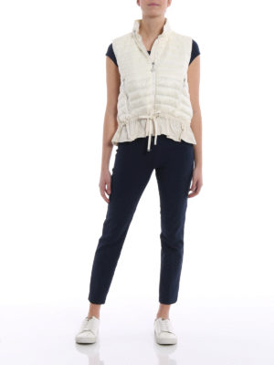 Moncler: waistcoats & gilets online - White cotton and padded nylon gilet