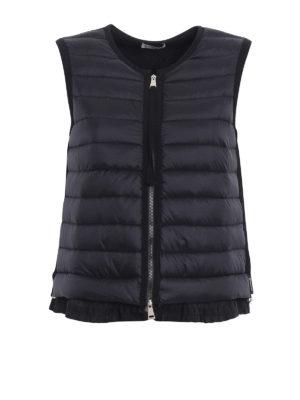 Moncler: waistcoats & gilets - Padded front black cotton vest