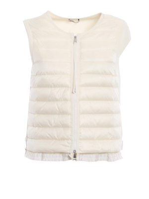 Moncler: waistcoats & gilets - Padded front white cotton vest