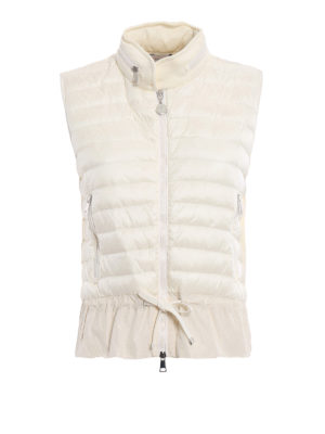 Moncler: waistcoats & gilets - White cotton and padded nylon gilet