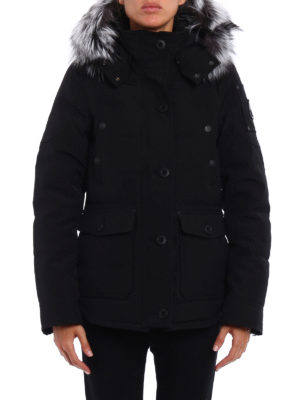 Moose Knuckles: padded jackets online - Quebec fur trimmed techno jacket