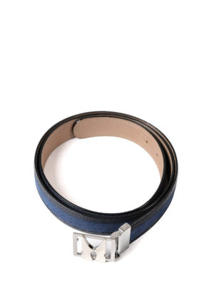 Moreschi: belts online - Denim effect leather belt