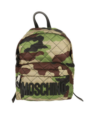 Moschino: backpacks - Logo camu quilted backpack