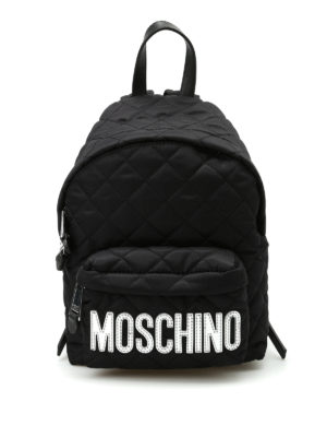 Moschino: backpacks - Logo detailed quilted backpack