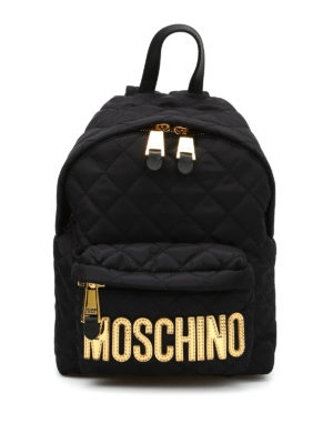 Moschino: backpacks - Logo lettering quilted backpack