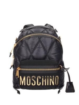 MOSCHINO: zaini - Zaino in nylon con maxi logo applicato