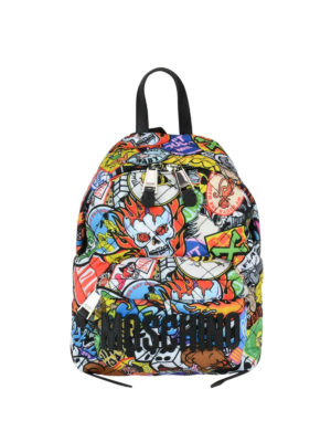 Moschino: backpacks - Multicolour print small backpack