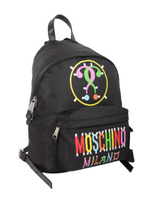 Moschino: backpacks online - Coloured logo print nylon backpack