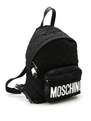 Moschino: backpacks online - Logo detailed quilted backpack