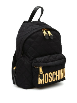 Moschino: backpacks online - Logo lettering quilted backpack
