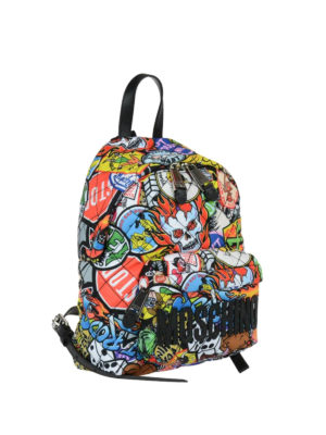Moschino: backpacks online - Multicolour print small backpack