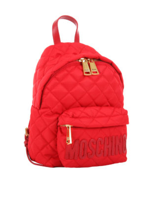 Moschino: backpacks online - Quilted matte nylon small backpack