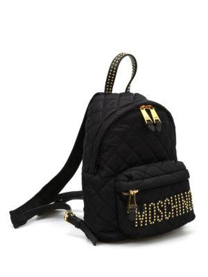 Moschino: backpacks online - Studded logo lettering backpack