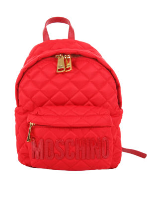 Moschino: backpacks - Quilted matte nylon small backpack
