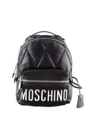 MOSCHINO: zaini - Zaino in nylon con maxi logo argento