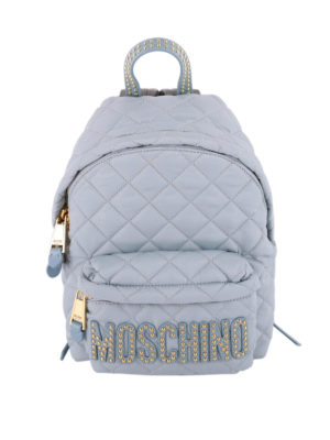 Moschino: backpacks - Studs logo quilted backpack