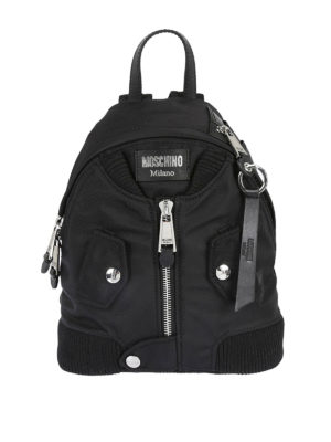 Moschino: backpacks - Techno fabric bomber backpack