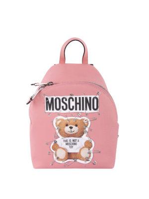 MOSCHINO: zaini - Zainetto in simil pelle rosa con stampa Teddy