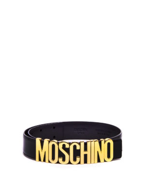 Moschino: belts - Leather belt with logo
