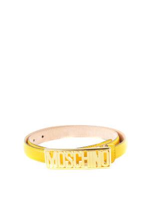 Moschino: belts - Logo leather belt